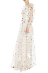 Monique Lhuillier Floral Gown with wide ruffle hem