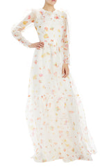 Floating floral printed organza long sleeve gown with ruffles
