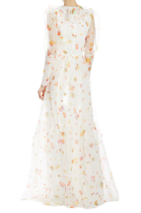 Spring 2020 long sleeve floral gown with ruffles