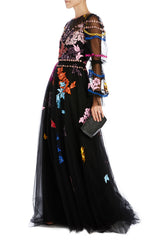 Black tulle evening gown with colorful embroidery