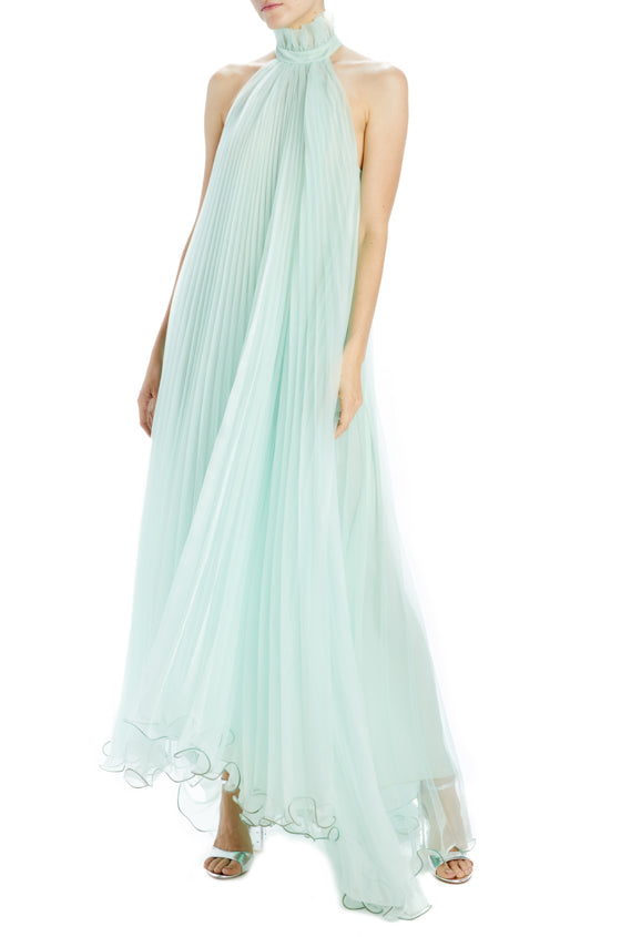SUNBURST PLEATED TRAPEZE GOWN WITH RUFFLED NECK