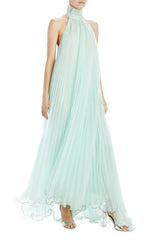 Spring 2020 mint pleated gown sleeveless