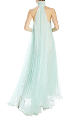 Monique Lhuillier pleated trapeze gown with ruffled neck