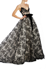 Black Chantilly Lace Ball Gown