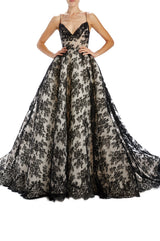 Black chantilly lace gown with v-neck and straps