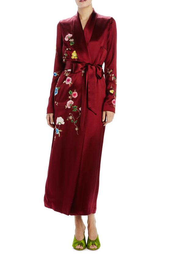 bordeaux satin wrap dress