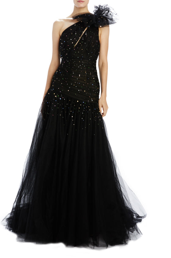 Monique Lhuillier black tulle evening gown with embroidery