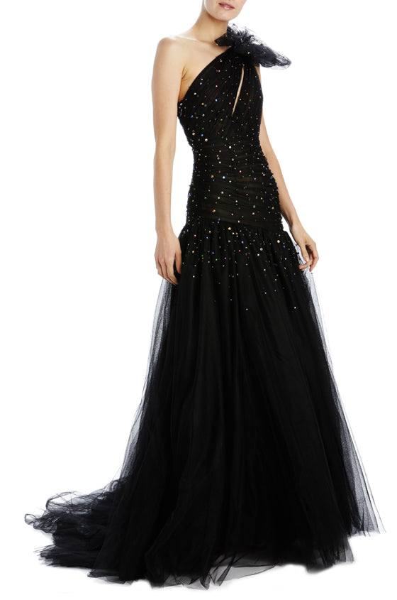 Black tulle evening gown with bow