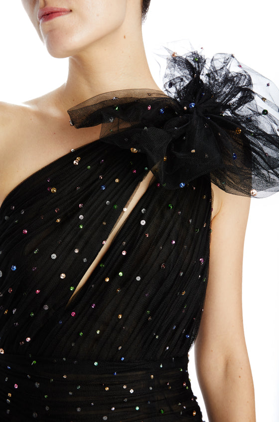 black tulle with colorful embroidery and a bow