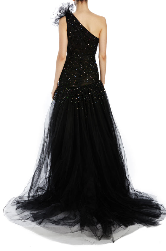 One Shoulder black tulle evening gown