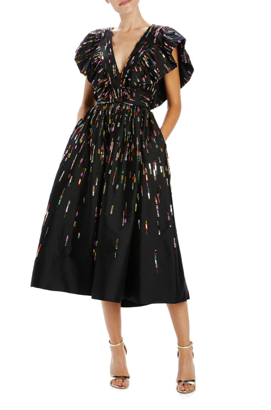 Embroidered noir taffeta midi dress with low back