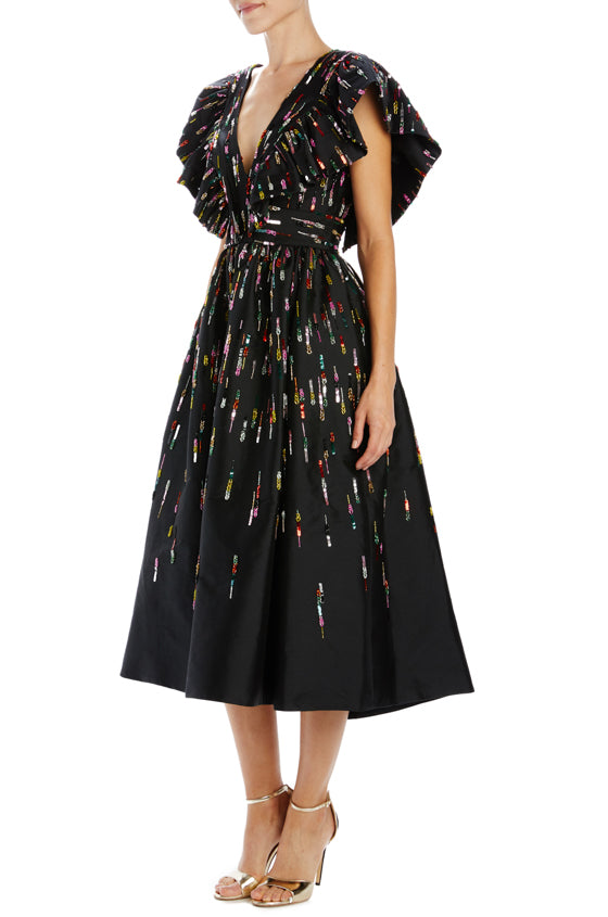 Monique Lhuillier Embroidered noir cocktail dress