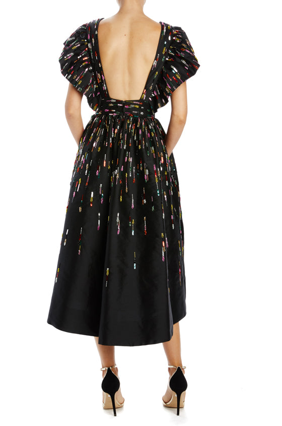 Black fluttered v-neck midi dress Spring 2020