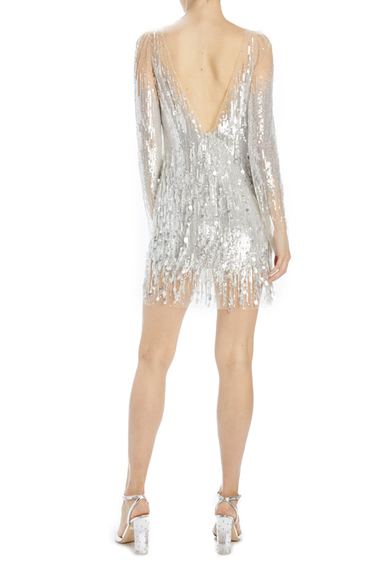Monique lhuillier silver beaded long sleeve mini dress
