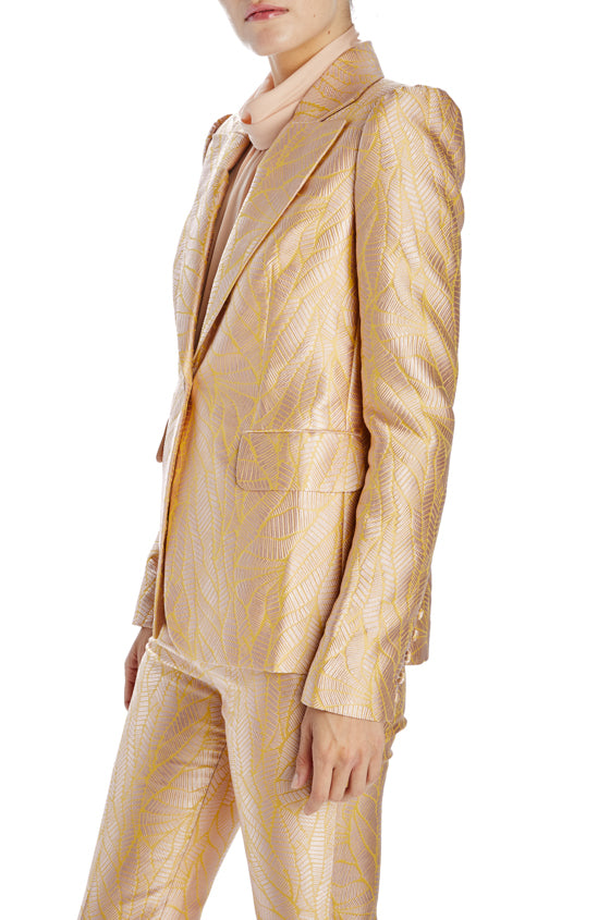 Palm Jacquard Fitted Spring blazer