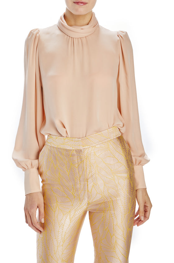 Pale rose high neck blouse
