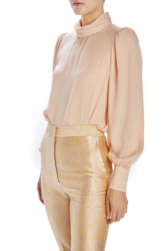 long sleeve blouse with gathered high neck