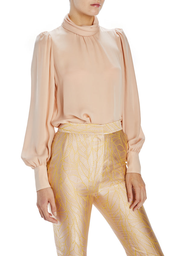 Monique Lhuillier pale rose georgette blouse