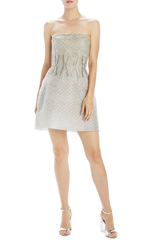 silver embroidered tulle cocktail dress