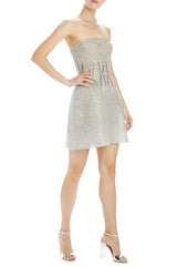 Silver beaded strapless cocktail dress
