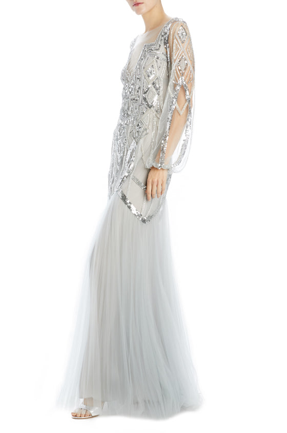 Monique Lhuillier silver beaded evening gown long sleeve