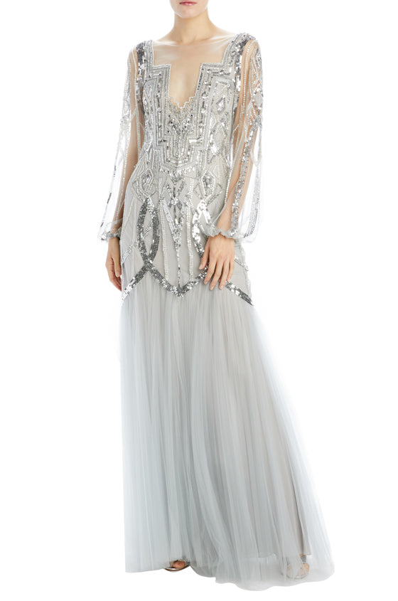 chrome embroidered tulle evening gown