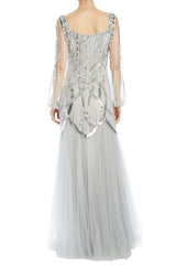 long sleeve gown with pleated skirt and beading