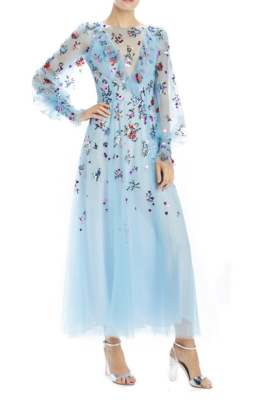 Pale blue ruffled tea length dress with bishop sleeves
