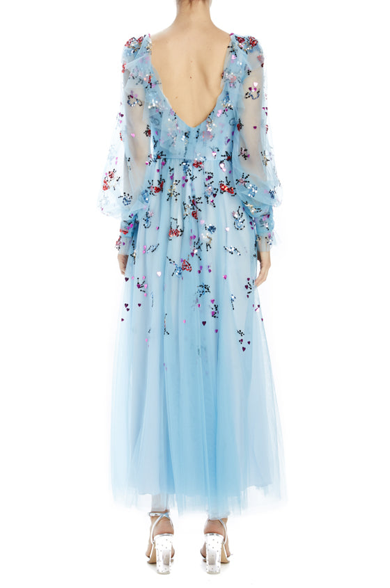 Spring 2020 Tea length dress with embroidery and bishop sleeves