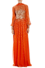 Bishop sleeve gown with self scarf orange gold