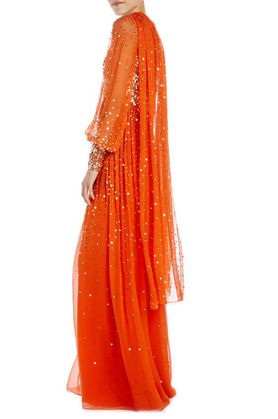 orange and antique gold bishop sleeve gown with self scarf