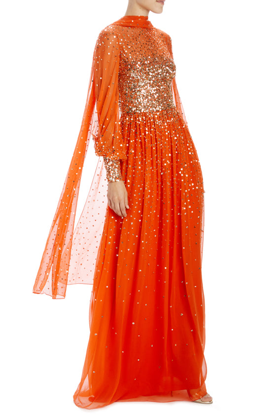 Embroidered chiffon orange evening gown