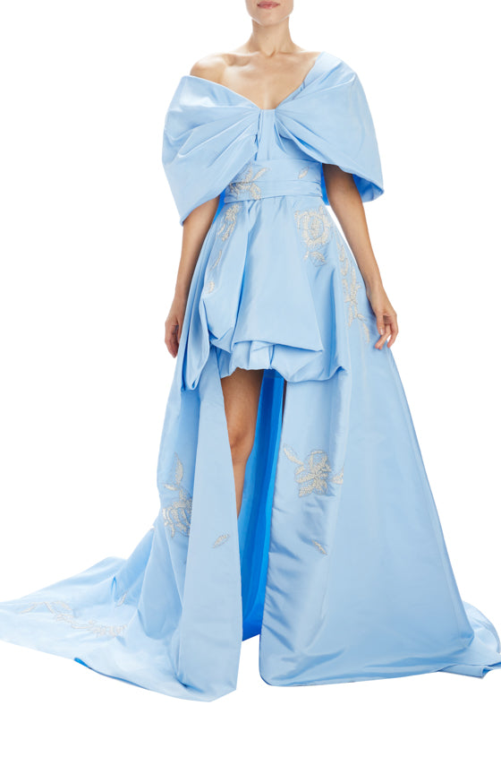 Sky blue asymmetric high-low gown with off the shoulder sleeves