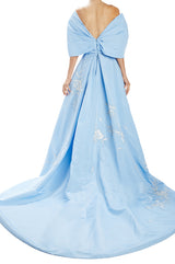 Spring 2020 blue high low evening gown