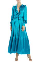 aquamarine charmeuse long sleeve dress with wide hem