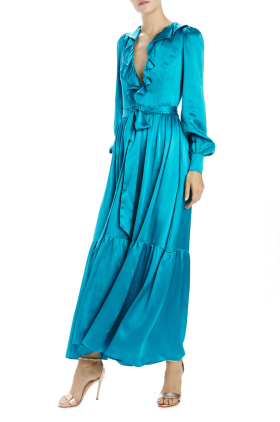 Long sleeve dress with ruffled v-neck, wide hem and self belt