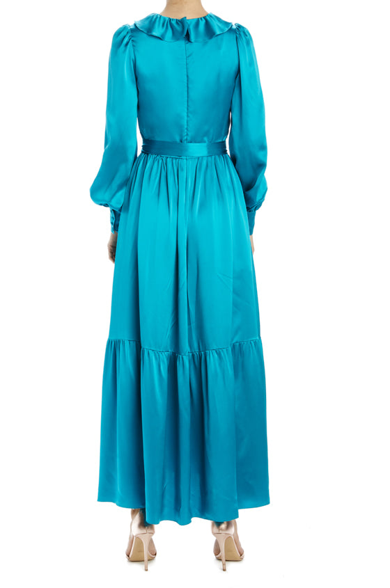 long sleeve aqua midi dress with self belt