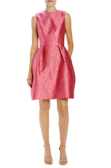 raspberry palm jacquard sleeveless dress