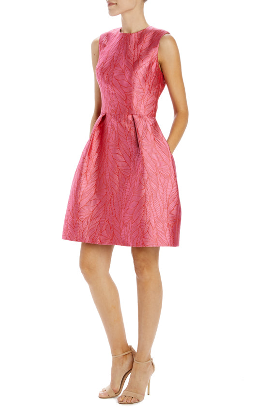 sleeveless pink cocktail dress