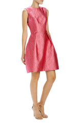 Sleeveless raspberry cocktail dress with pleats