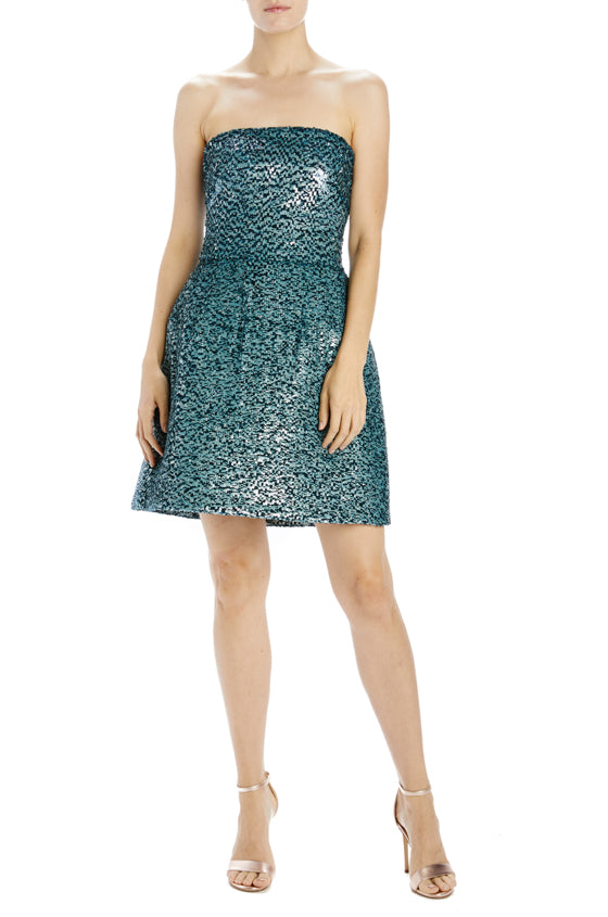 Teal Sequin Strapless Cocktail Dress