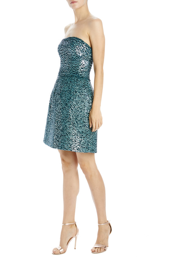Sequin Strapless Mini Dress with bubble skirt