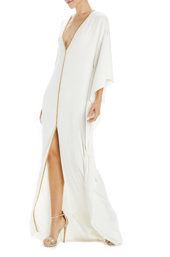 Silk white crepe caftan with front slit