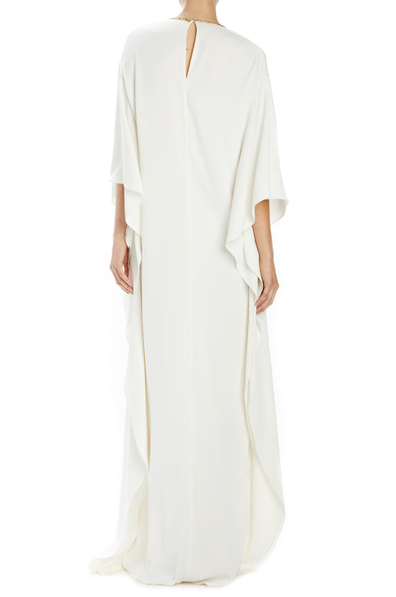 Monique Lhuillier silk white caftan with beaded trim and front slit