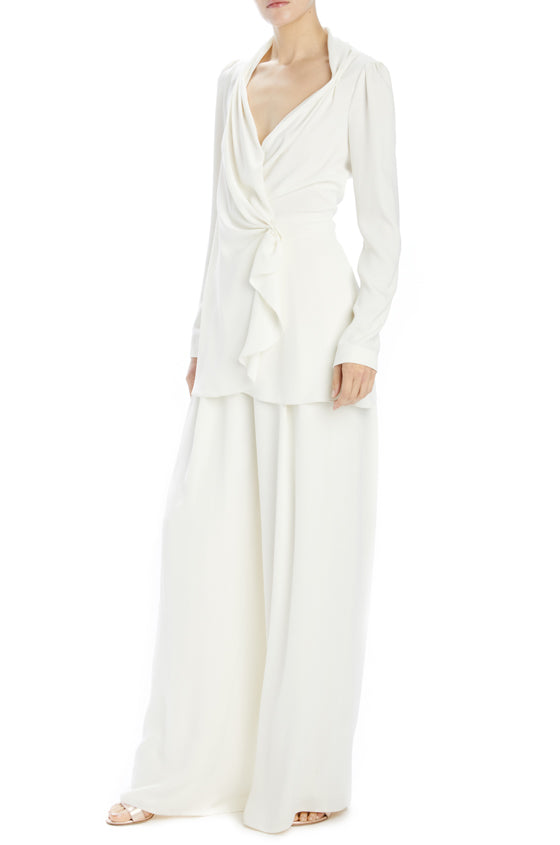 Monique Lhuillier ivory crepe pleated pant