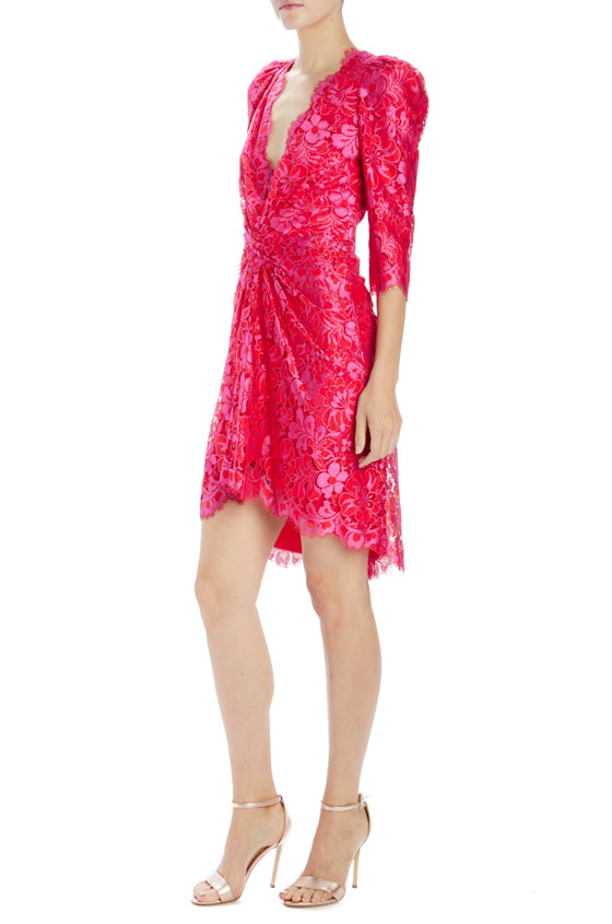 Red fuchsia v-neck lace mini dress with ruching