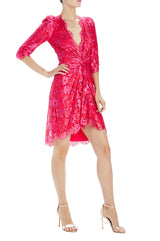 Monique Lhuillier fuchsia lace v-neck dress