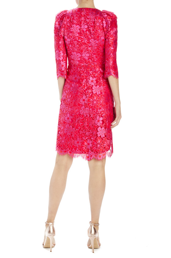 pink cocktail dress with v-neck and ruching