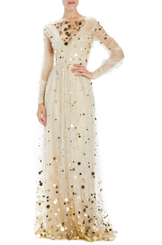 Gold Embroidered Tulle Evening Gown