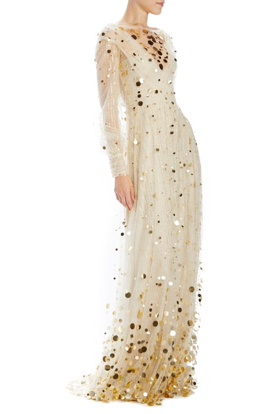 Long sleeve tulle holiday gown with gold embroidery